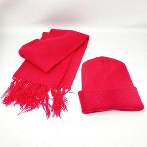 Bright Pink Fringe Winter Beanie Hat & Scarf Set